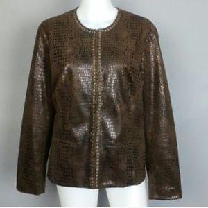 Chicos brown crocodile print jacket with studs